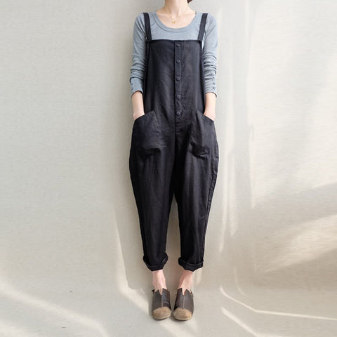 Women Sleeveless Pockets Dungaree Baggy Jumpsuits Overalls Fashion Casual Loose Jumpsuits