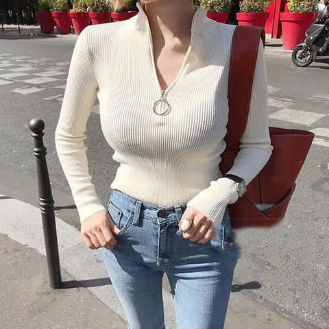 Skinny Knitted Full Sleeve Zipper Turtleneck Solid Soft Sweater