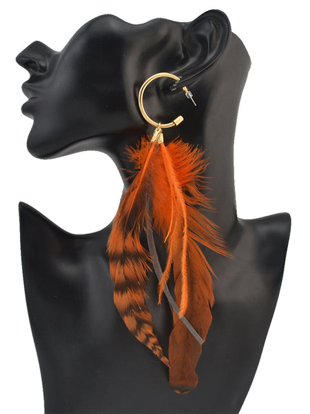 Bohemian Metal Feather Feather Zinc Alloy Jewelry