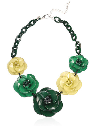 Trendy Plastic Metal Link Chain Flower Strapless Jewelry