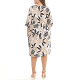 Straight Round Knee Length Half Sleeve Print Plus Size Dresses
