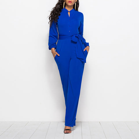 Solid Hole Pockets Sashes Round Long Sleeve Formal Royal Blue Polyester Jumpsuits