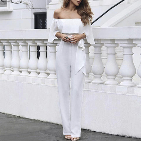 Solid Ruffles Sashes Off-shoulder Half Sleeve Fashion Formal White Chiffon Jumpsuits
