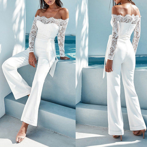 Solid Sashes Lace Off-shoulder Long Sleeve Sexy Formal White Polyester Lace Jumpsuits