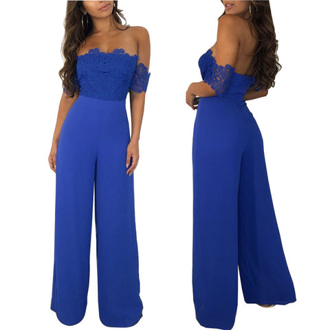 Solid Lace Off-shoulder Short Sleeve Sexy Royal Blue Chiffon Jumpsuits