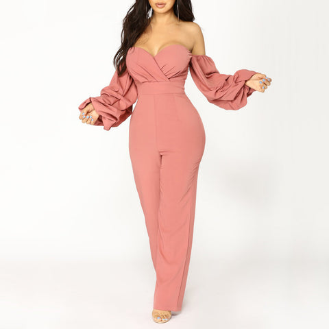Solid Off-shoulder Long Sleeve Sexy Pink Polyester Jumpsuits