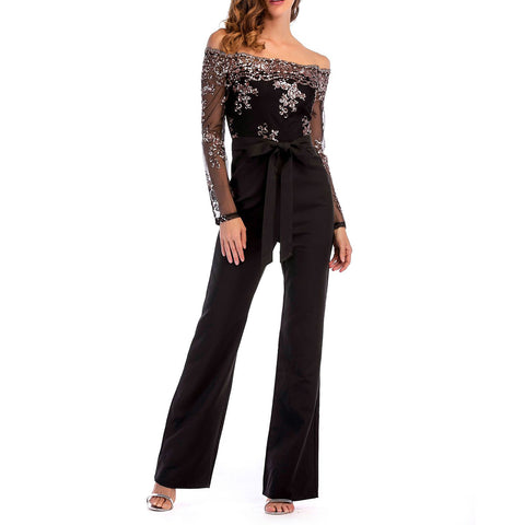 Solid Sashes Bow Lace Off-shoulder Long Sleeve Formal Black Polyester Jumpsuits