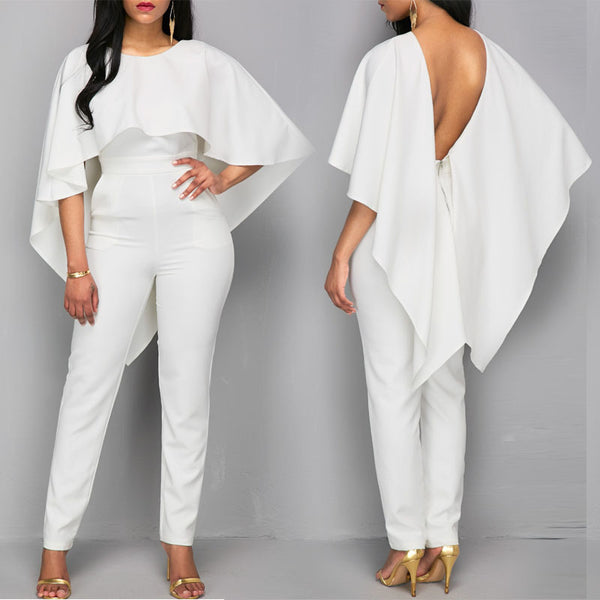 Solid Pockets Ruffles Round 3/4-Length Sleeve Formal White Polyester Jumpsuits