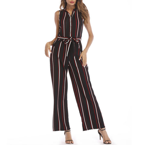 Striped Sashes Turndown Neck Sleeveless Fashion Black Polyester Jumpsuits