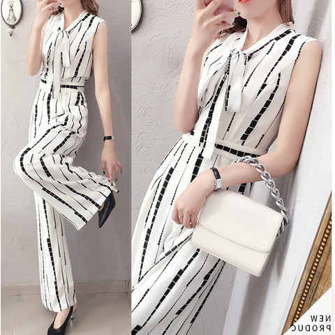 Print Lace-Up Tie Neck Sleeveless Fashion White Polyester Jumpsuits