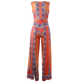 Print Deep v-neck Sleeveless Sexy Orange Polyester Jumpsuits