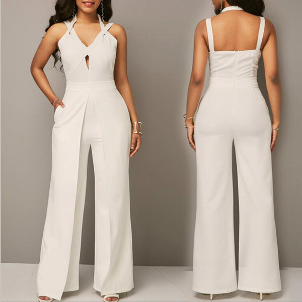 Solid Hole Halter Straps Sleeveless Elegant Sexy White Polyester Jumpsuits
