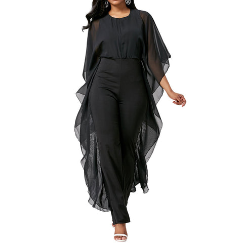 Solid Ruffles Round 3/4-Length Sleeve Fashion Black Chiffon Jumpsuits