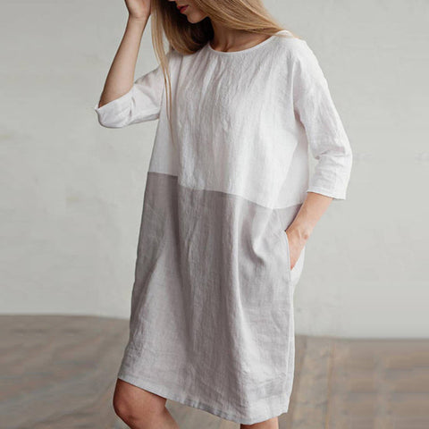 Straight Round Mini 3/4-Length Sleeve Patchwork Pockets Linen Dresses