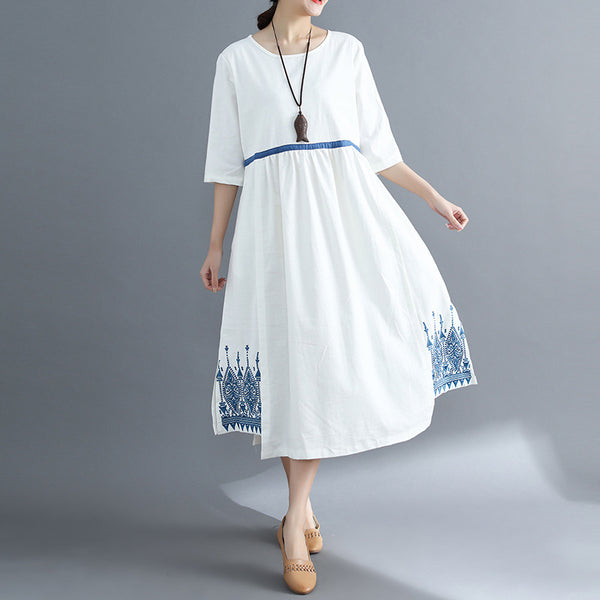 A-line Round Mid Half Sleeve Print Pockets Linen Dresses
