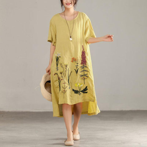 Straight Round Mid Print Linen Dresses