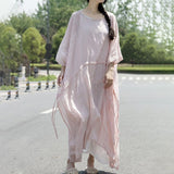 Straight Round Maxi 3/4-Length Sleeve Solid Lace-Up Plus Size Dresses