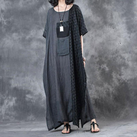 Straight Round Maxi Half Sleeve Patchwork Pockets Plus Size Dresses