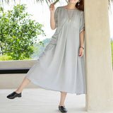 A-line Round Mid Half Sleeve Solid Linen Dresses
