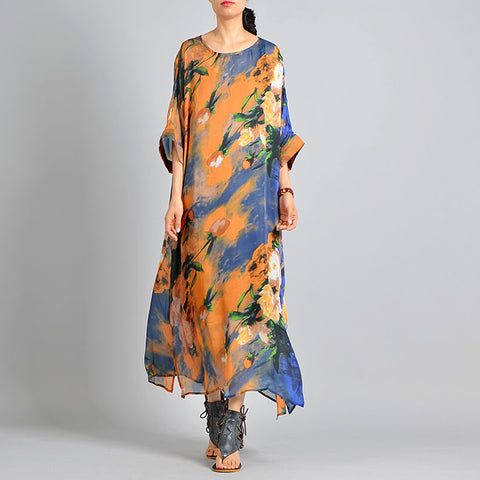 Straight Round Maxi 3/4-Length Sleeve Print Plus Size Dresses