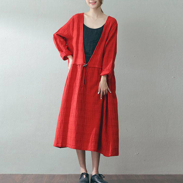 A-line Round Mid Long Sleeve Solid Lace-Up Linen Dresses