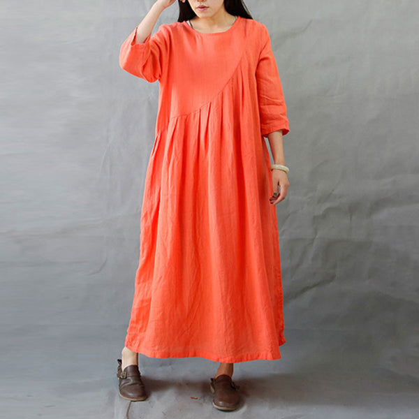 A-line Round Mid 3/4-Length Sleeve Solid Plus Size Dresses