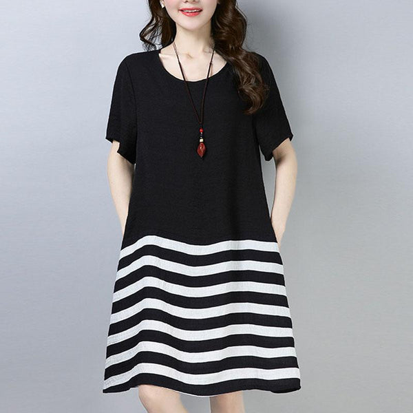 A-line Round Knee Length Short Sleeve Striped Dresses