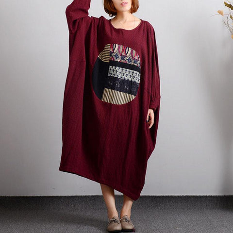 Cocoon Round Mid Long Sleeve Pattern Plus Size Dresses