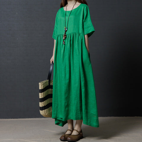 A-line Round Maxi Half Sleeve Solid Linen Dresses