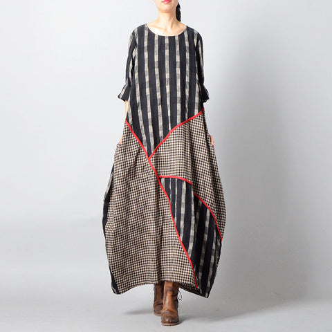 Cocoon Round Maxi Half Sleeve Patchwork Striped Plus Size Dresses
