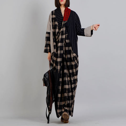 Straight V-neck Maxi Long Sleeve Plaid Patchwork Pockets Plus Size Dresses