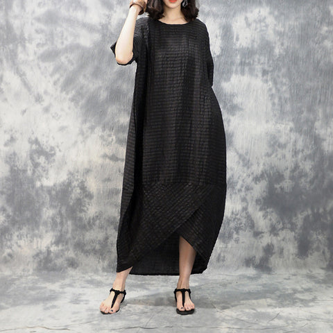 Cocoon Round Maxi Half Sleeve Plaid Pockets Plus Size Dresses