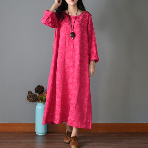 Straight Round Maxi Long Sleeve Print Plus Size Dresses