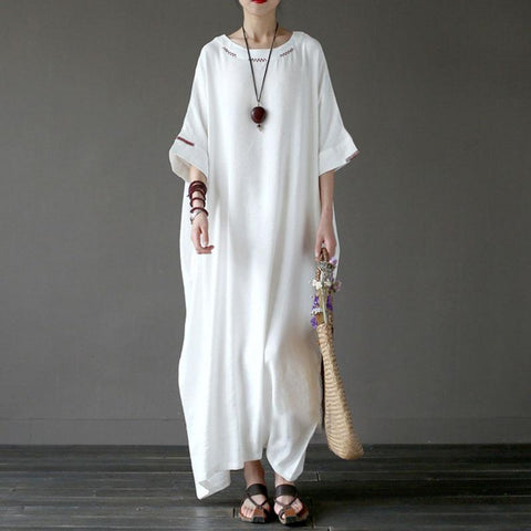 Straight Round Maxi 3/4-Length Sleeve Solid Linen Dresses