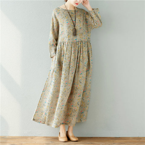 A-line Round Maxi Long Sleeve Print Pockets Plus Size Dresses