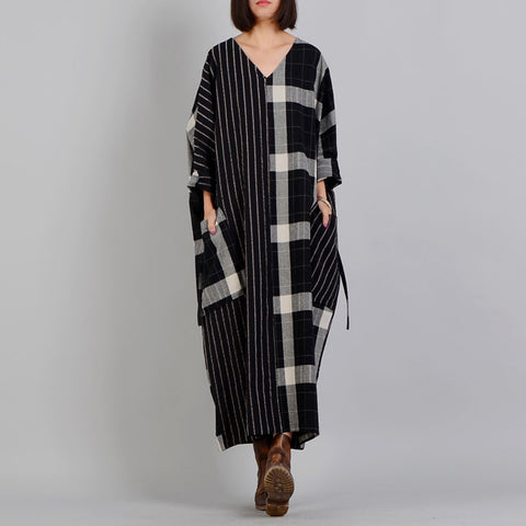Straight V-neck Maxi Long Sleeve Plaid Patchwork Striped Lace-Up Pockets Plus Size Dresses