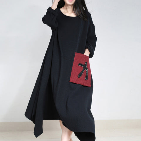 A-line Round Maxi Long Sleeve Pattern Pockets Plus Size Dresses
