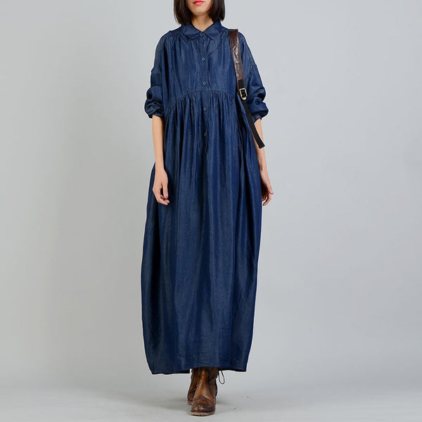 A-line Turndown Neck Maxi Long Sleeve Solid Button Plus Size Dresses