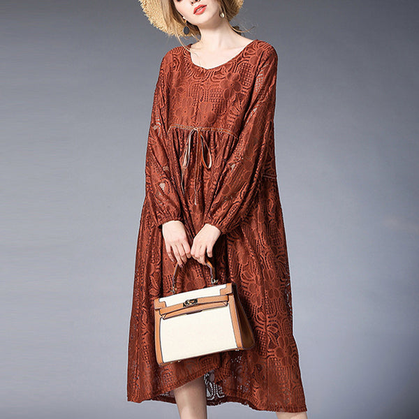 A-line Round Mid Long Sleeve Solid Plus Size Dresses