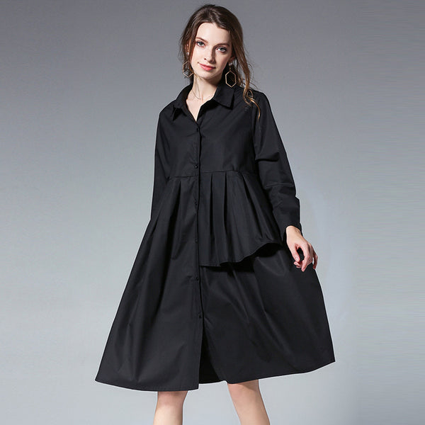 A-line Turndown Neck Knee Length Long Sleeve Solid Ruffles Plus Size Dresses