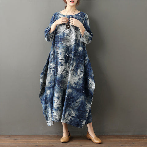 Cocoon Round Mid 3/4-Length Sleeve Print Plus Size Dresses
