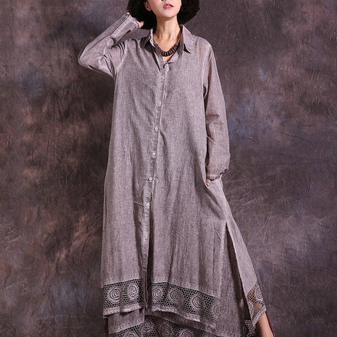 Straight Turndown Neck Maxi Long Sleeve Solid Hollow Out Linen Dresses
