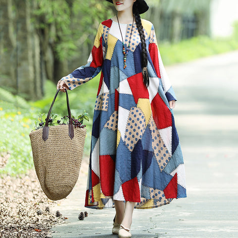 A-line Round Maxi Long Sleeve Print Patchwork Pockets Linen Dresses