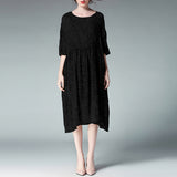A-line Round Knee Length 3/4-Length Sleeve Solid Plus Size Dresses