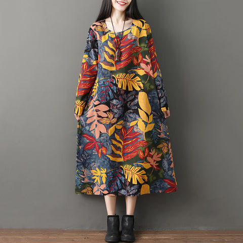 Straight Round Mid Long Sleeve Print Pockets Dresses