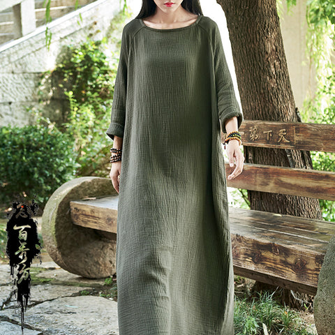 Straight Round Maxi 3/4-Length Sleeve Solid Pockets Linen Dresses