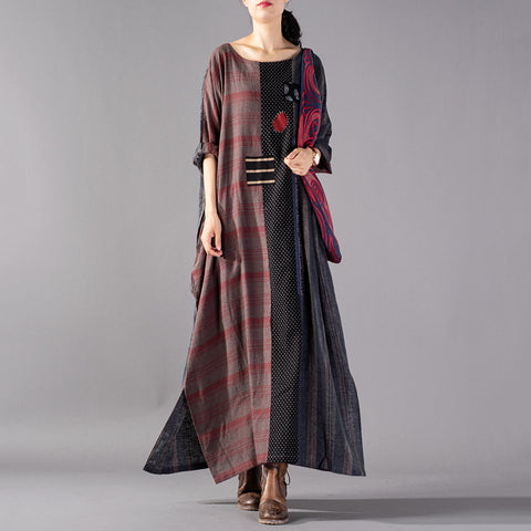 Straight Round Maxi 3/4-Length Sleeve Plaid Patchwork Appliques Pockets Plus Size Dresses