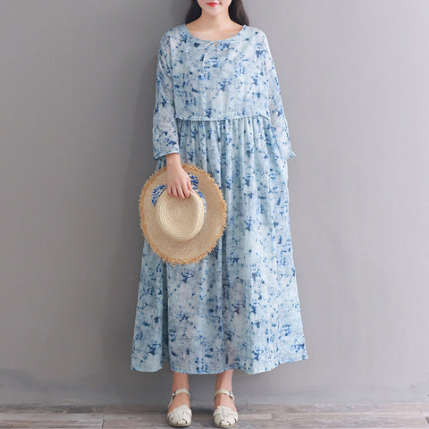 A-line Round Mid 3/4-Length Sleeve Print Plus Size Dresses
