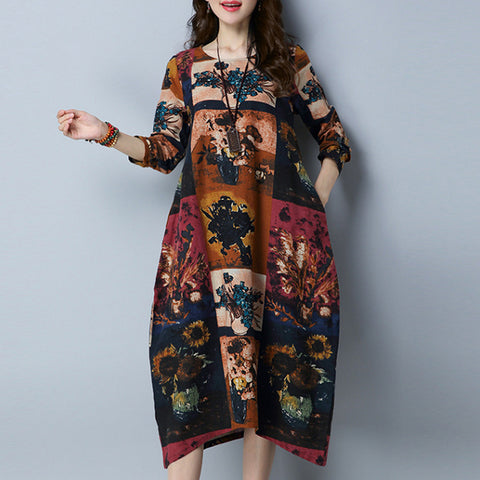 Straight Round Mid Long Sleeve Print Pockets Plus Size Dresses