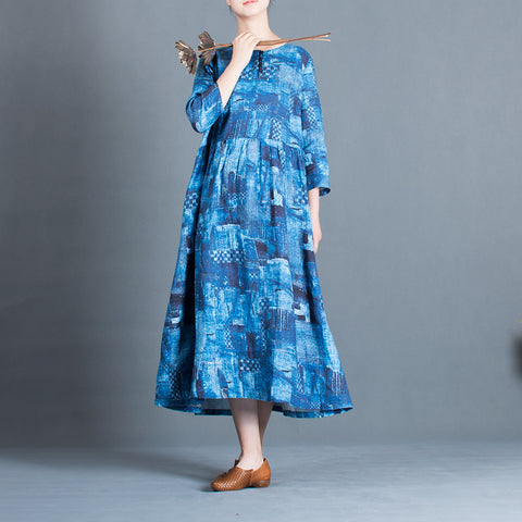 A-line Round Mid 3/4-Length Sleeve Print Linen Dresses